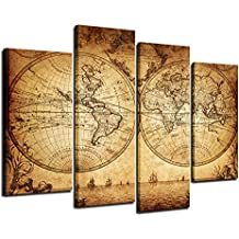 Sea Charm - Canvas Wall Art Panels Vintage World Map Painting Framed - 4 Pieces Canvas Art Retro Antiquated Map of the World Painting Abstract Picture Artwork for Home Office Decor