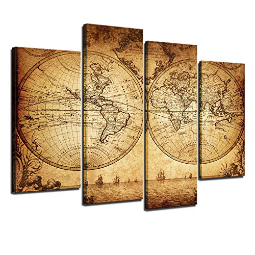 4 Piece Office Wall - sechars - Canvas Wall Art Panels Vintage World Map Painting Framed - 4 Pieces Canvas Art Retro Antiquated Map of The World Painting Abstract Picture Artwork for Home Office Decor