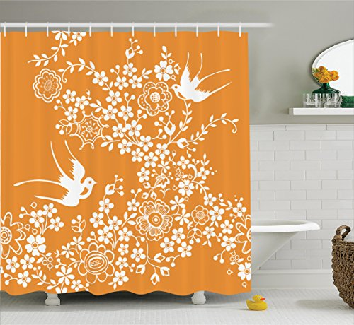 - Ambesonne Japanese Shower Curtain, Oriental Floral Japanese Style Flying Birds Asia Pastel Colored Spring Pattern, Fabric Bathroom Decor Set with Hooks, 70 Inches, Marigold White