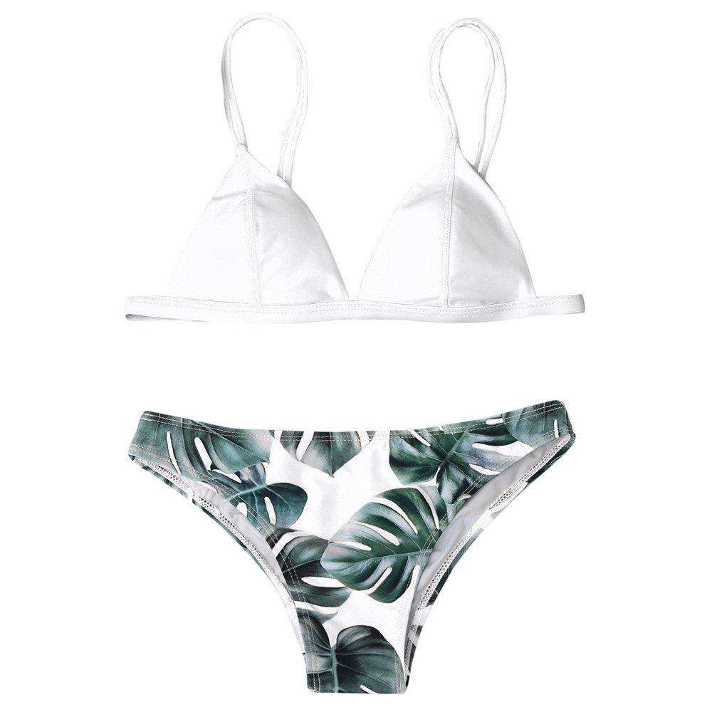 Beikoard Bademode Bikini Set, Damen Floral Design Bikini Set Zweiteilig Trendigen BH Kleidung Gedruckt Bikini Bademode Set Sommer Neopren Bademode Beachwear Push up Padded Bra Badeanzug Bikini-Set