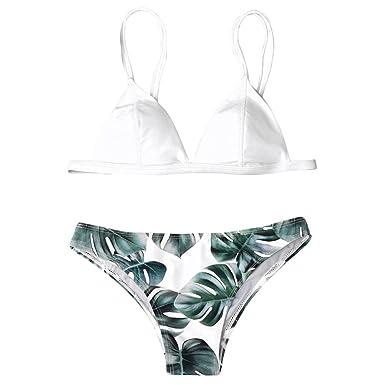 feb04ef458252 Kanpola Maillot De Bain 2 Pieces Femme Push Up Bandeau Sexy Licou  Impression Feuilles Chic Vêtements