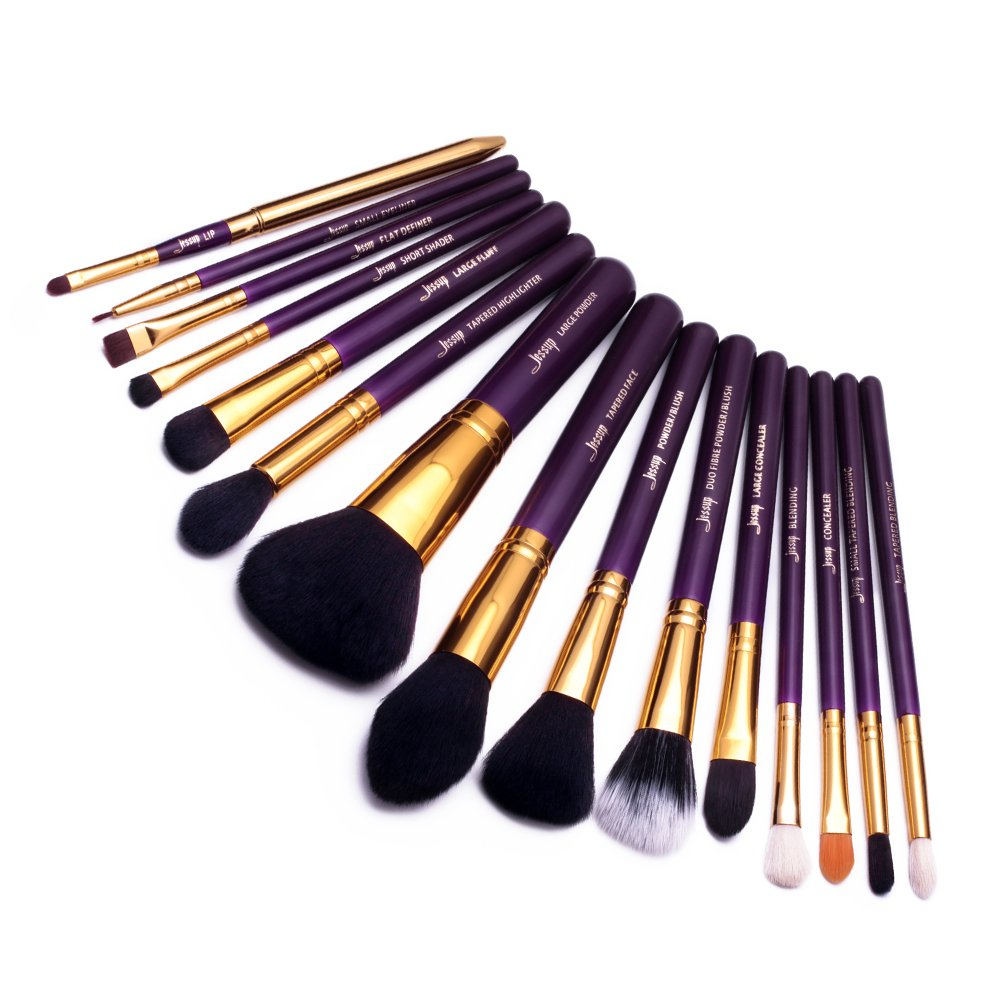 Jessup 15pcs Pro makeup brushes pennelli trucco, cosmetici, fondotinta, ombretto, eyeliner Blending lip make up Brush Tools viola/oro T095 Mankalun