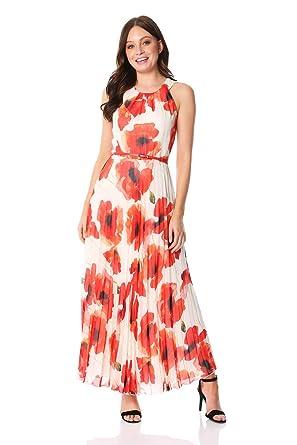 7d1b5d1d6a270 Roman Originals Femme Robe Maxi Imprimé Coquelicot Longue - Mariage  Ceremonie Occasion Simple Ceinture Tulle - Rouge