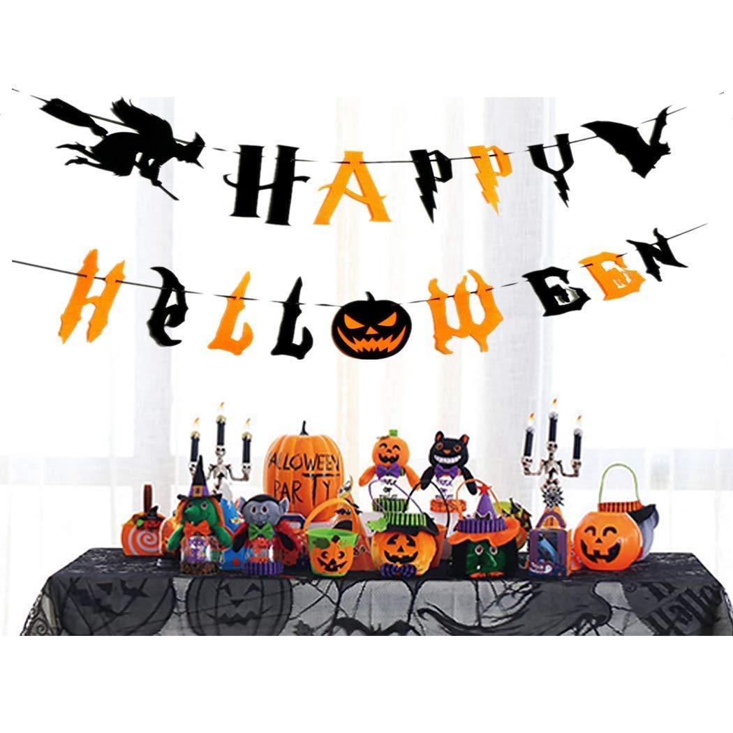 Happy Halloween Banners, Pumpkin Witch Bat Bunting Indoor Outdoor Bedroom, Fireplace, Garden Halloween Party Decorations (Black and Orange Halloween Banners)