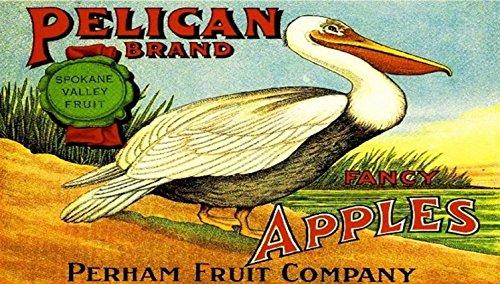 Pelican Wall (Yakima Washington Pelican Bird Apple Fruit Crate Label Art Print)