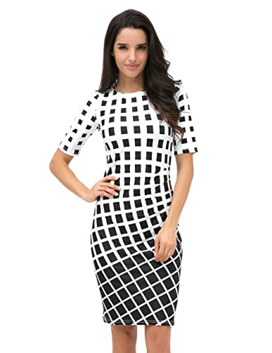 Just Quella Women's Slim Fit Pencil Bodycon Work Dress 8622