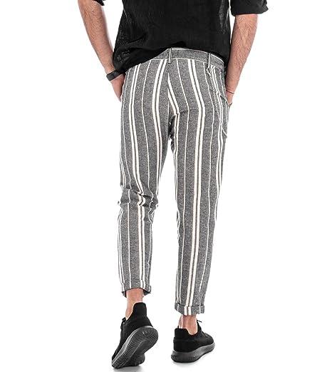 Giosal Pantalone Lino Uomo Rigato Righe Tasca America