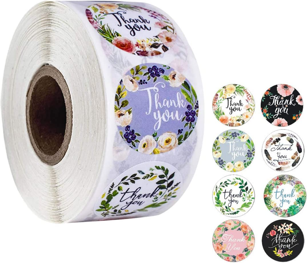 IHOMEIS Happy Mothers Day Stickers Floral- Thank You Stickers Round Bakery Food Stickers 8 Types Design Handmade Goods Sticker 500 Pc