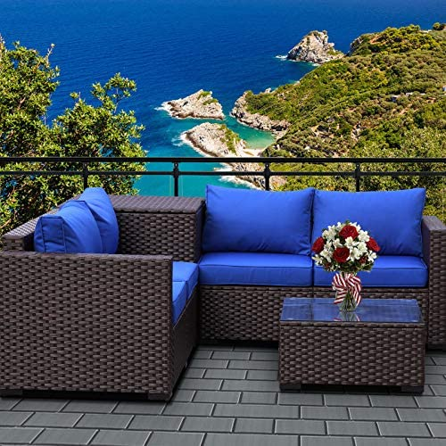 VALITA Patio PE Wicker Furniture Set 4 Pieces Outdoor Brown Rattan Sectional Conversation Sofa Chair