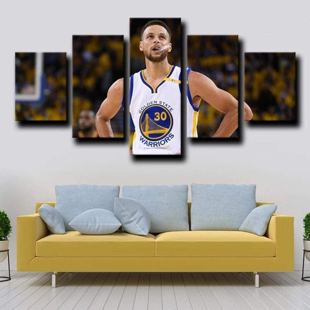 Wall Art Pictures 5 Pieces Canvas Prints Modern Artwork Golden State Warriors Splash Stephen Curry Brothers Picture Hd Poster Wall Decor - Ready to Hang - for Home Decoration