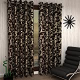 Home Sizzler Modern 2 Piece Eyelet Polyester Door Curtain Set  - 7ft , Brown