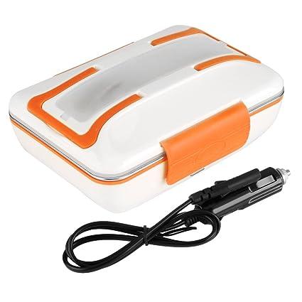 Fdit Tartera Eléctrica de Coche Fiambrera de Comida Eléctrico de Acero Inoxidable de Caja de Almuerzo Térmica 12V 40W para Coche(Naranja)