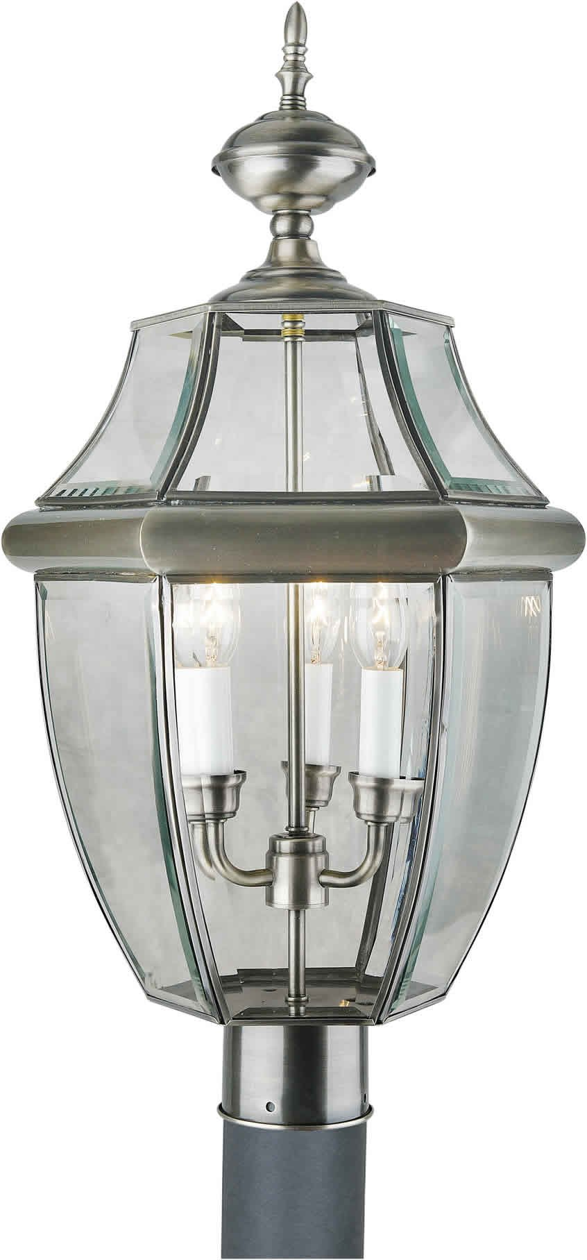 Forte Lighting 1604-03-34 Outdoor Post Fixture with Clear Beveled Glass Shades, Antique Pewter