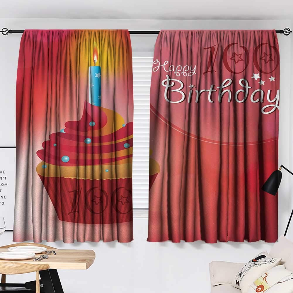 Jinguizi 100th Birthday Curtain Door Panel 100 Years Party Cupcake with Candle Abstract Vivid Colored Backdrop Bedroom Darkening Curtains Pink Red and Orange W55 x L39 by Jinguizi (Image #2)