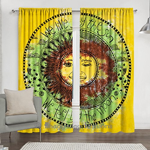 Psychedelic Celestial Sun Moon Stars Tie Dye Curtain Tapestry, Door Hanging Window Curtains, Drape Portiere Scraf Valance 2 Pcs Set 84 x 80