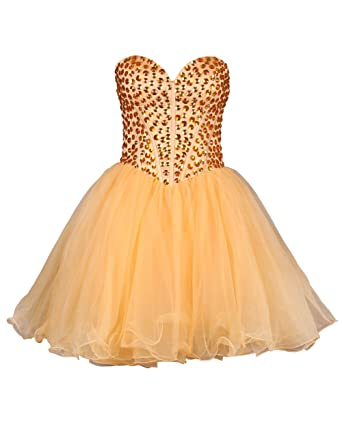 Dressystar Fresh Orange Girls Prom Dress Fully Beadings Up Body Size 18 Orange