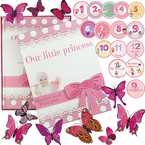 baby memory books for girls | Pink Keepsake Journal With 12 3D Magnetic Butterfly &15 Monthly Milestone Stickers from ar4u