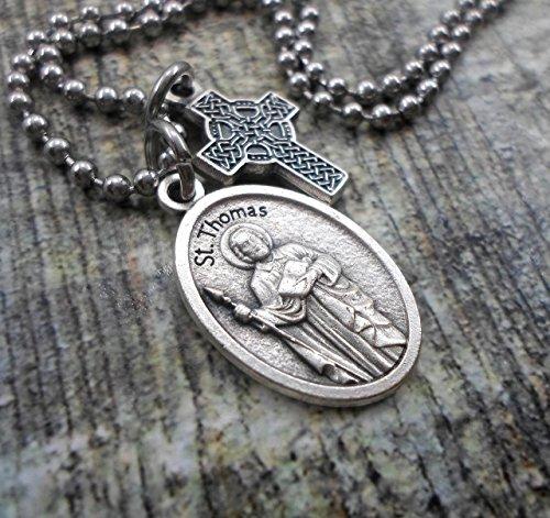 St. Thomas Charm Necklace, Patron Saint, Keychain or Purse-Backpack Clip