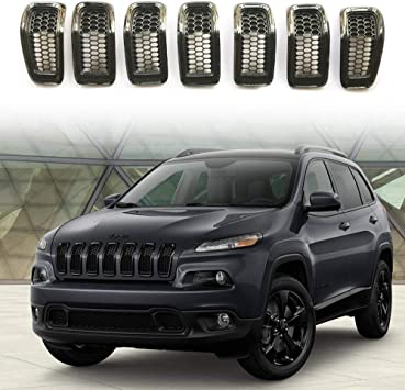 CD-Parts Fit 2014-2018 Jeep Cherokee 7pcs Black ABS Front Grille Inserts Grill Frame Trim