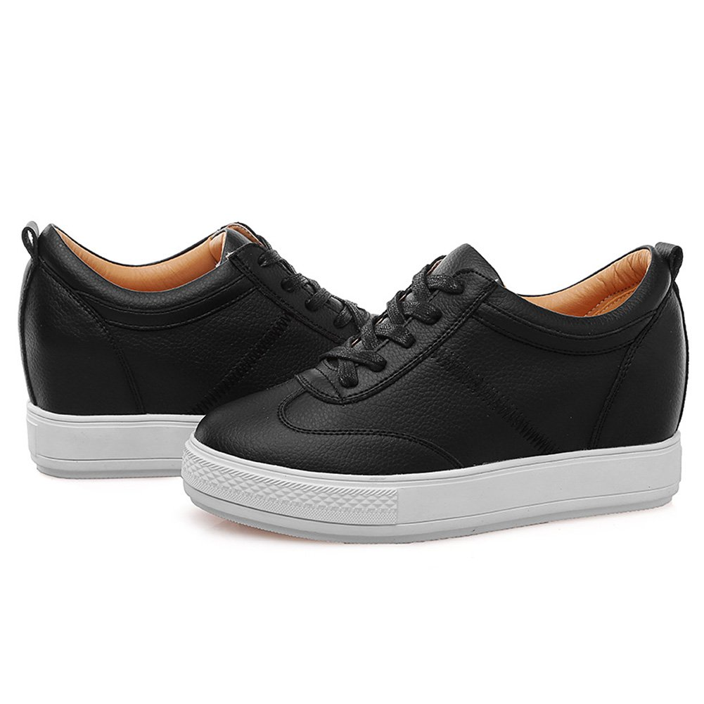 8dc7438f567 Jamron Women Comfort Soft Microfiber Leather Hidden Wedge Heel Sneakers  Black SN2520 US6.5. Yêu thích
