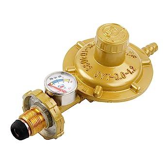UKCOCO Regulador de gas propano con manómetro Medidor de nivel de manómetro para barbacoa Camping Cookers