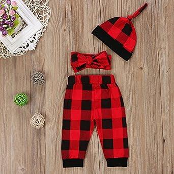 Hstore Baby Boys Girls 4Pcs Romper Christmas Festive Lattice Jumpsuit Bodysuit Clothes