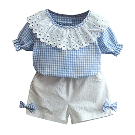 02419df69 Fabal-Baby Clothing Toddler Kids Baby Girls Outfits Clothes Plaid T-Shirt  Tops+Bowknot Shorts Set Blue: Amazon.in: Baby