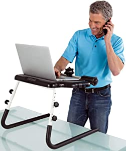 FitDesk Table Top Standing Desk with Massage Rollers and Forearm Supports - Soft Grip Surface Tablet Holder - No Scratch Grip Legs - Height Adjustable Range from 11