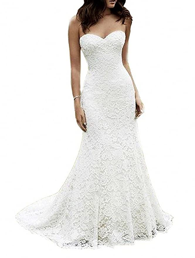 SIQINZHENG Women's Sweetheart Full Lace Beach wedding Dress Mermaid Bridal Gown, Ivory, 16