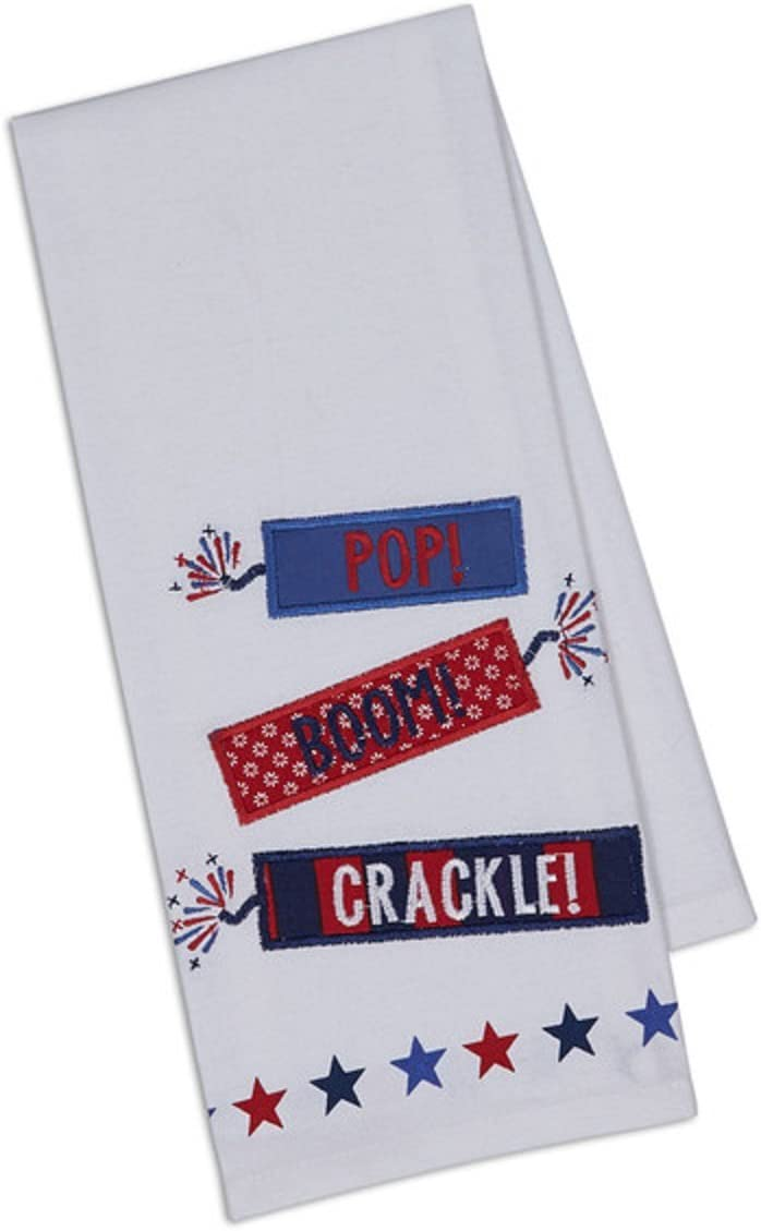 "DII Design Imports Firecrackers Embellished Dishtowel Pop, Boom, Crackle! Firecrackers Embellished 4th of July Kitchen Dishtowel 18 x 28"" 100% Cotton"