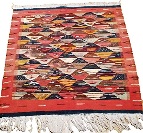 Moroccan Zanafi Tribe Berber Wool Kilim Area Rug 42''x40.5'' [SHIPS FROM WITHIN USA] by Moroccophile Souk