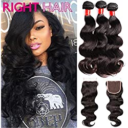 "Right Hair Super Quality Virgin Brazilian Hair 3 Bundles Body Wave Hair 14"" 16"" 18"" with 12"" Closure 100% Unprocessed Natural Color Virgin Human Hair Weaves with Closure Piece"