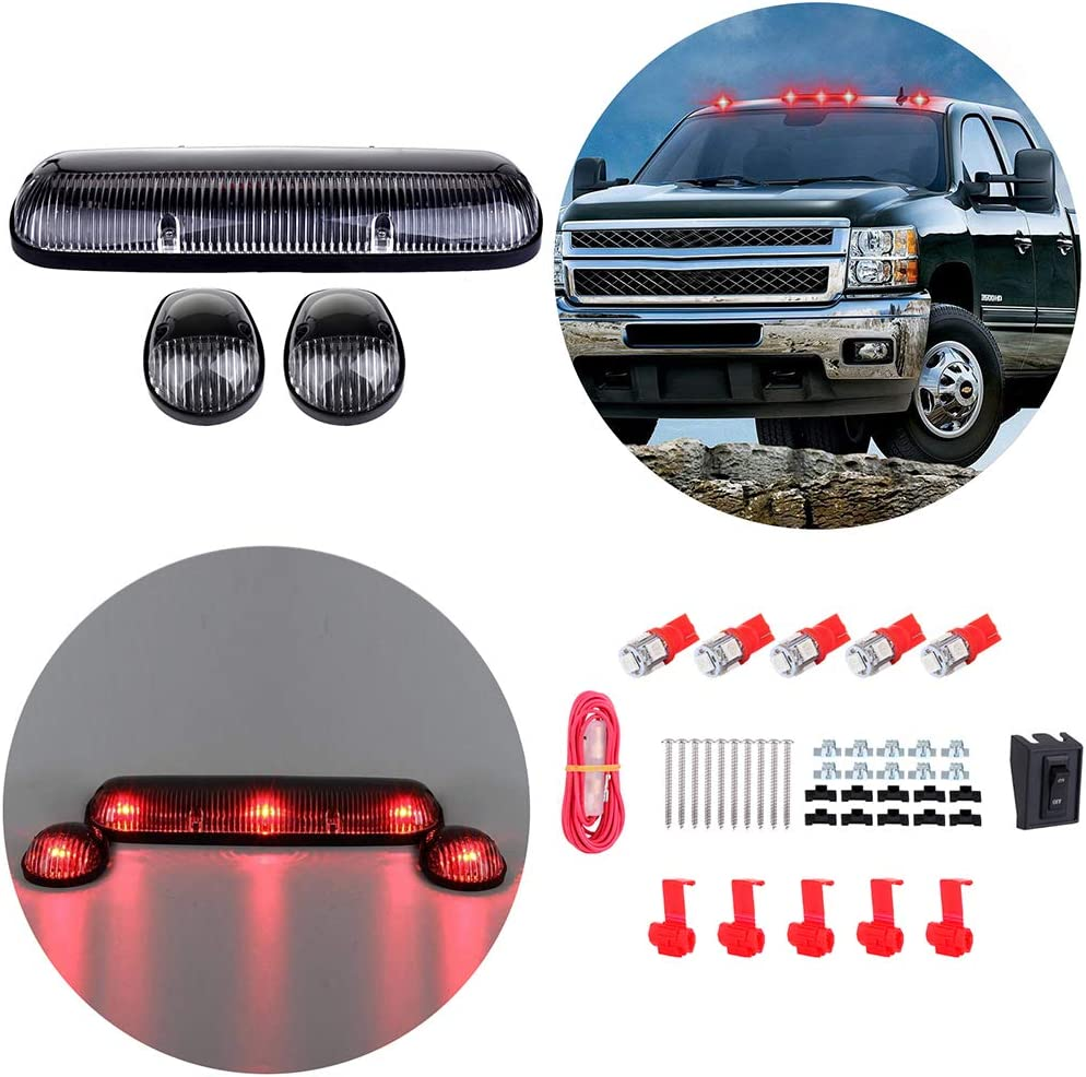 ECCPP 3pcs Clear Cab Marker Light Cab Roof Running Top Clearance Marker Assembly 194 168 Red with Wiring Pack Replacement fit for 2002-2007 Chevy Silverado//GMC Sierra 1500 2500HD 3500