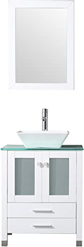 Sliverylake Bathroom Vanity Top Single Ceramic Vessel Sink Cabinet MDF Wood w Mirror 24 , Sink Trapeziform