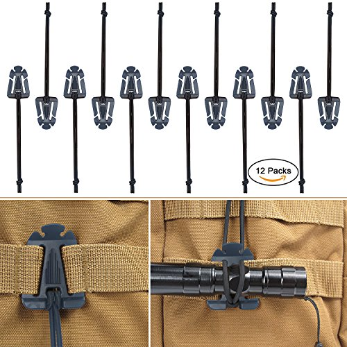 Molle Web - Weareal 12 Pack Molle Clips Web Dominators Molle Accessores for Backpack Straps Management (Black)