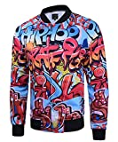 Men Long Sleeves Vintage 3D Graffiti Floral Printed Bomber Baseball Jacket Coat