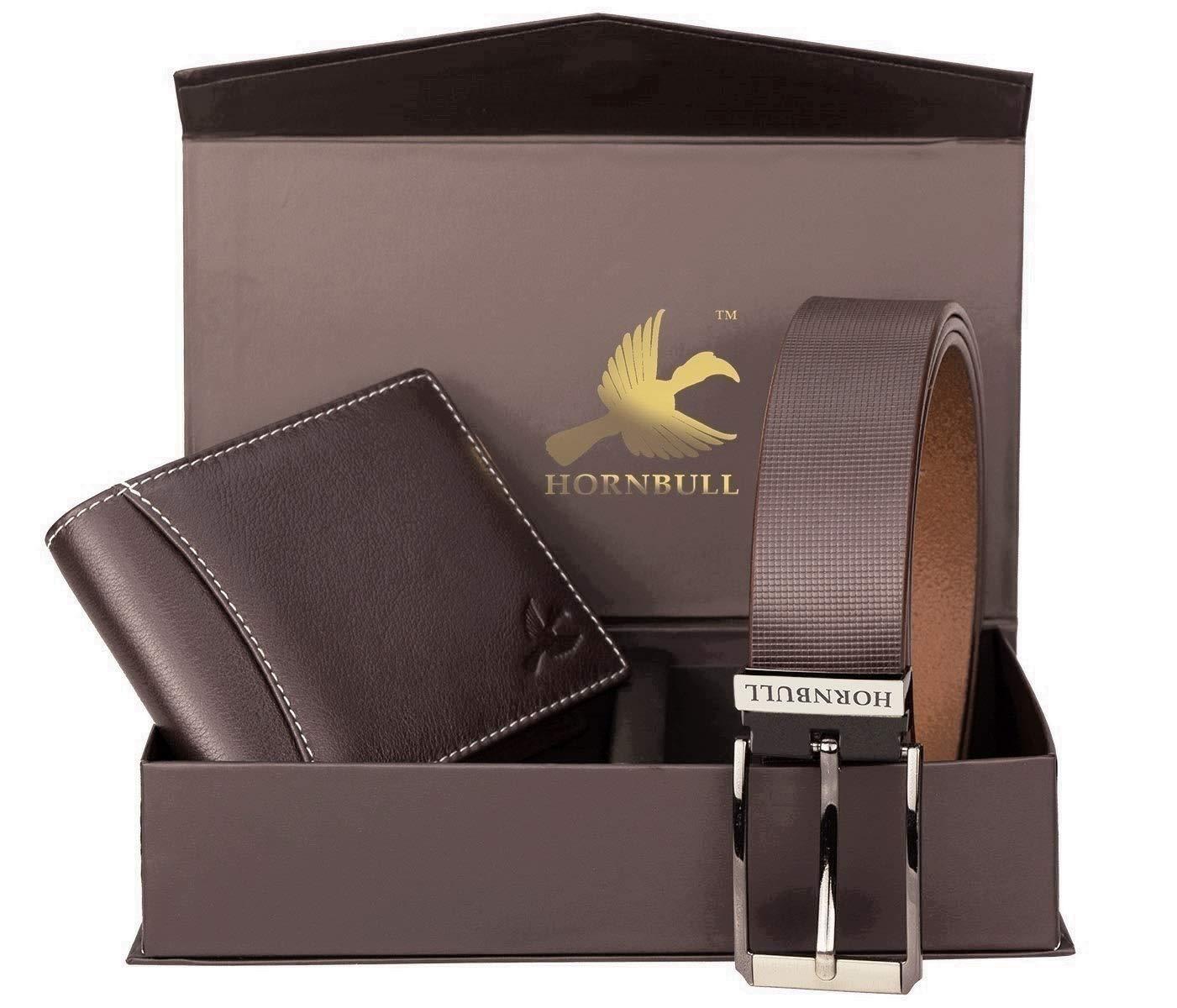 HORNBULL Men's Leather Wallet and Belt Combo