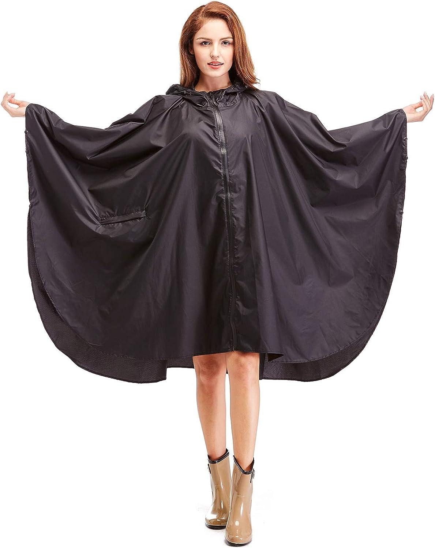 Womens Hooded Zip up Waterproof Rain Jacket Raincoats Lightweight Poncho with Pockets Outdoors