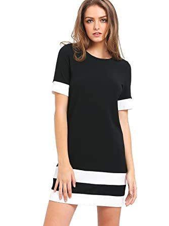 d9535d191e6 SheIn Women s Patchwork Short Sleeve Shift Tunic Dress at Amazon ...