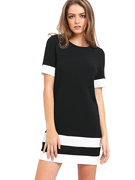 1f510af02b SheIn Women's Patchwork Short Sleeve Shift Tunic Dress Black X-Small