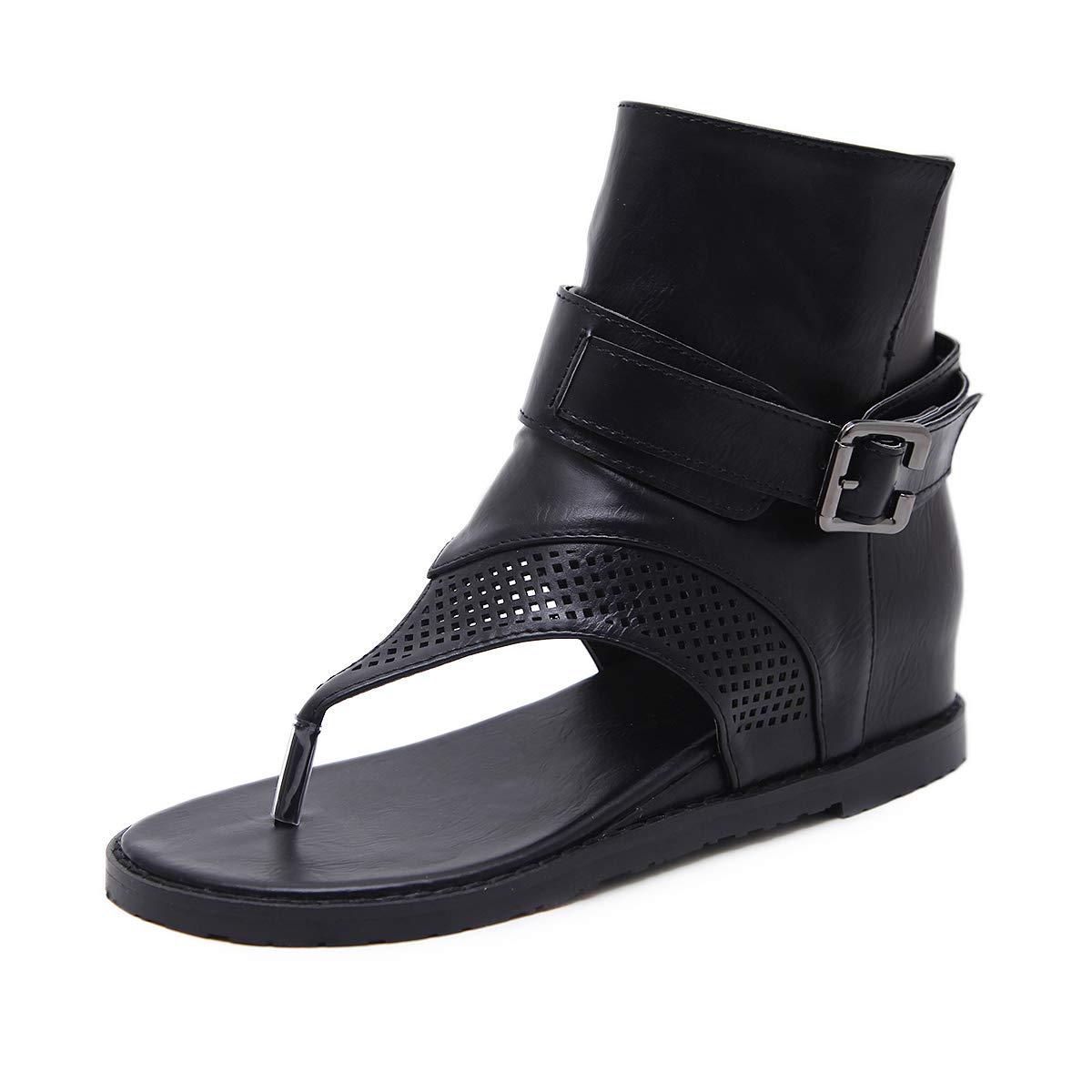 HBDLH Damenschuhe Sommer Zwicken Heel 3Cm Sandalen High - End - Steigung Ferse Ferse Die Mitte Zwicken Innere Größe Römische Schuhe