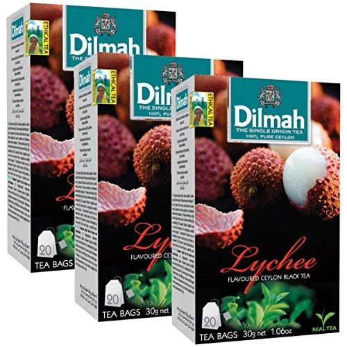 (Dilmah Lychee Flavored Ceylon Black Tea - 20 Tea Bags X 3 Pack - Sri Lanka Ceylon Dilmah Lychee Tea Real Tea)