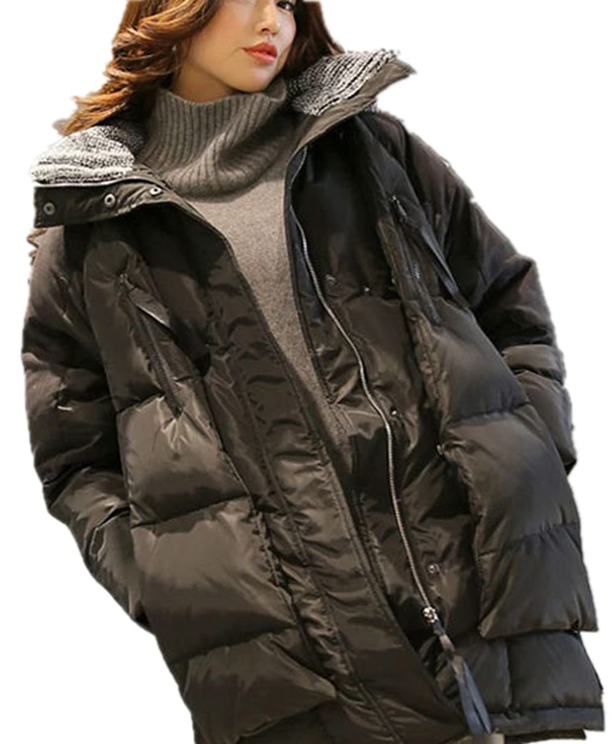 YINHAN@ Big Size Thickening Hooded Md-long Down Jackets