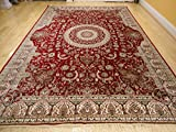 Stunning Silk Persian Area Rugs 8x11 Traditional Large Rugs Red 8x12 Silk Rugs Persian Tabriz High End Living Room Rug (Large 8'x11')
