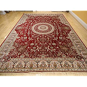 Stunning Silk Persian Area Rugs 8x11 Traditional Large Rugs Red 8x12 Silk  Rugs Persian Tabriz High