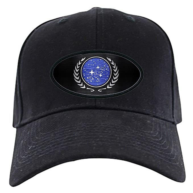3908cf5084912 Amazon.com  CafePress - StarTrek UFP Metal 1 Black Cap - Baseball ...