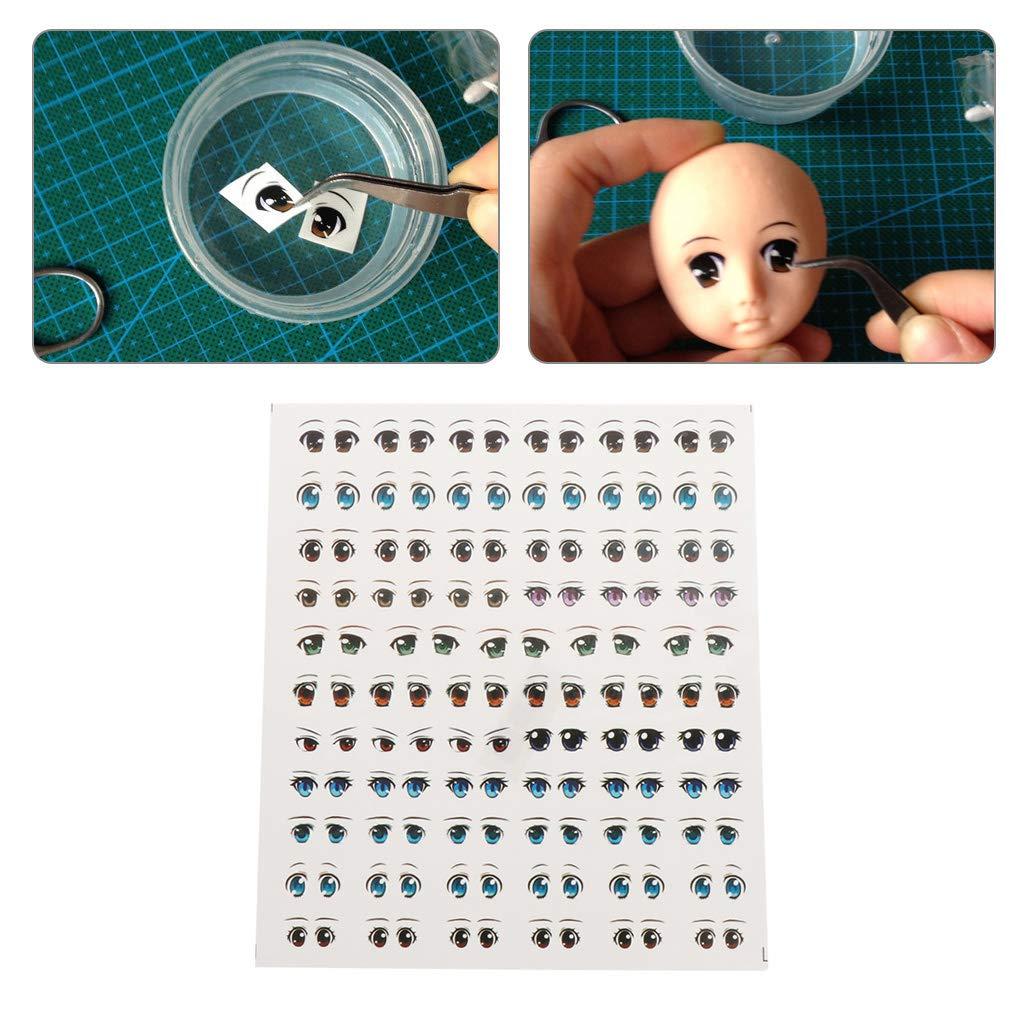 zhiwenCZW Anime Figurine Occhi Adesivi Doll Face Organ Paster Clay Cartoon Decalcomanie