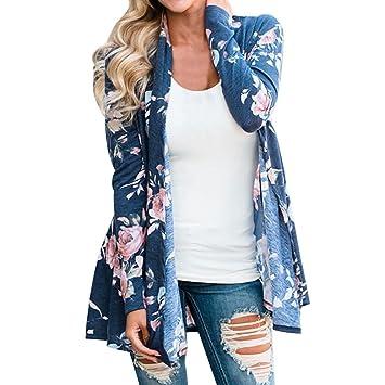 Chaquetas Mujer, ❤️ Amlaiworld Chaqueta de Mujer Floral Cárdigan Mujer Primavera Verano Chales Wraps Outerwear Jersey Imprimir Cárdigan Kimono Casual ...