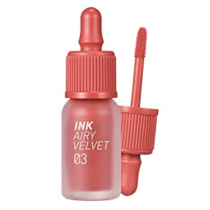 Peripera Ink Airy Velvet Lip Tint | High-Pigmentation, Lightweight, Soft, Moisturizing, Not Animal Tested | Cartoon Coral (#03), 0.14 fl oz