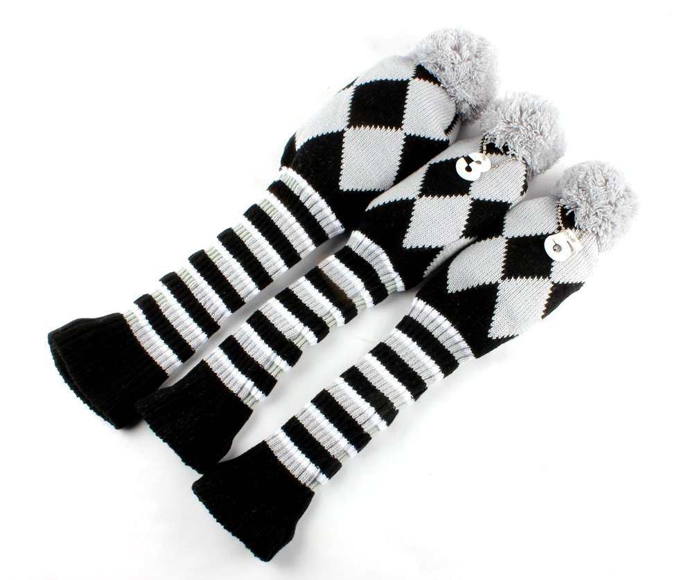 Craftsman Golf Knit 3pcs Headcover Set Vintange Pom Pom Sock Covers 1-3-5 Gray & Black NEW
